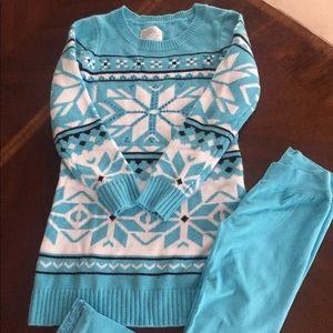 Justice sweater dress & leggings, new worn. Sz 12